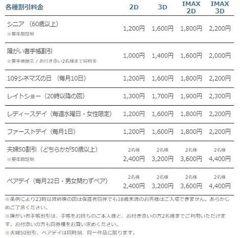 割引サービス【TOHOシネマズ名古屋】