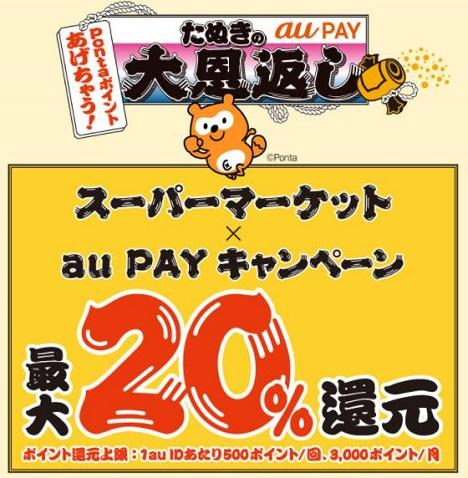 対象のスーパーマーケットでauPAY決済でポイント20%還元!