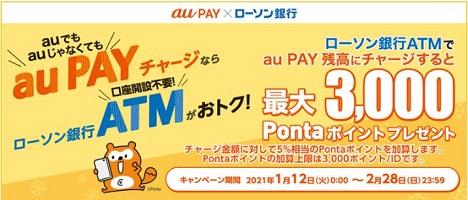 auPAYにローソン銀行から現金チャージでポイント5%還元!