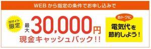 電気チョイス3万円キャッシュバック
